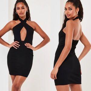 Misguided black cross front halterneck mini dress